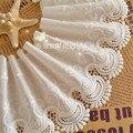 largura 3yards/lot 13.5cm white100% algodão laço bordado tecidos, roupas femininas diy guarnição do laço rs223, frete grátis