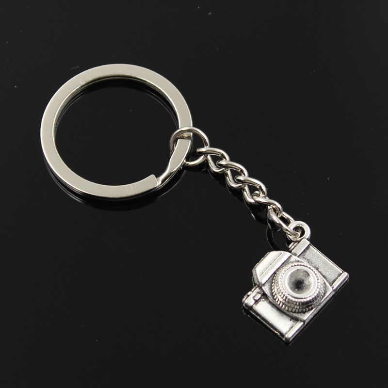 New Fashion Men 30mm Keychain DIY Metal Holder Chain Vintage Retro Camera 16x21x6mm Silver Color Pendant Gift