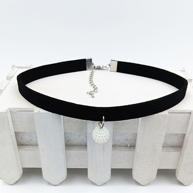 Women Fashion Black Rope Statement Resin Pendant Choker Necklace