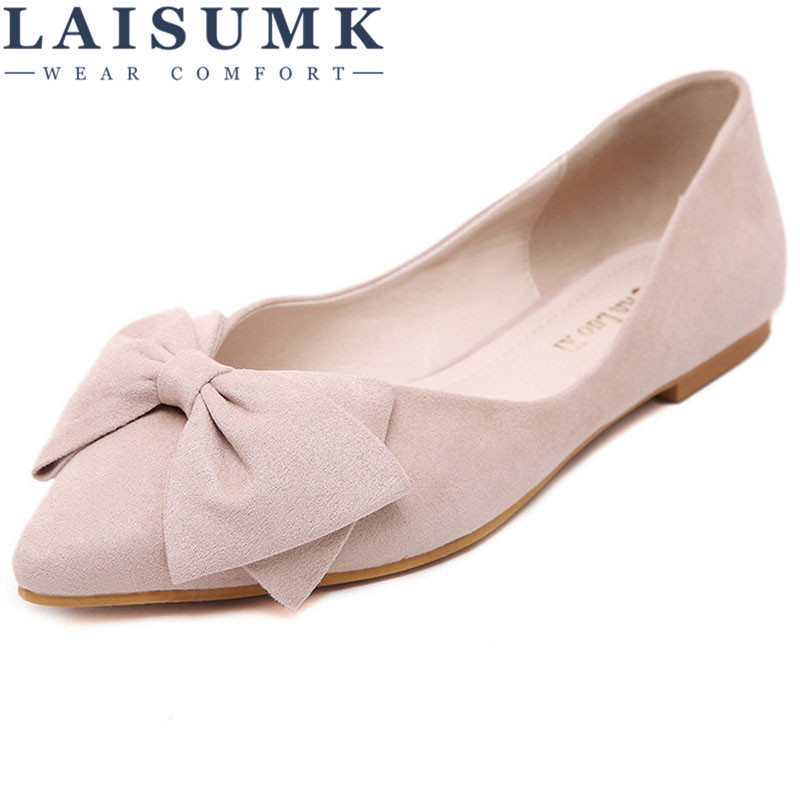 2018 LAISUMK Lady Ballet Flats Sweet Bow Pointy Toe Women's Flats Solid Flock Ballerina Flat Shoes blue sequin large size gold pointy ballerina sparkling women chinese wedding shoes flats bow party ballet 10 glitter loafers