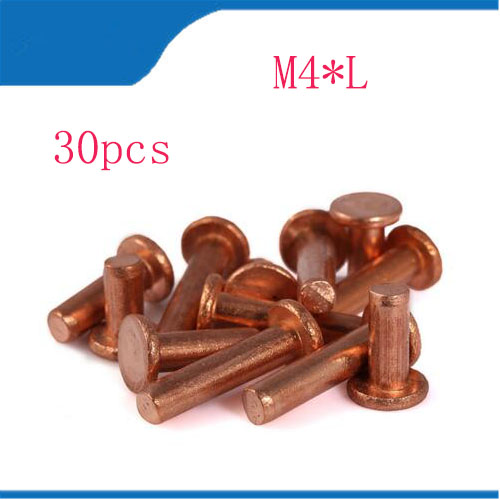 Rivet free shipping M4*L Flat Head Copper Rivets Solid Brass Rivet 4mm Diameter 5mm-35mm length недорого