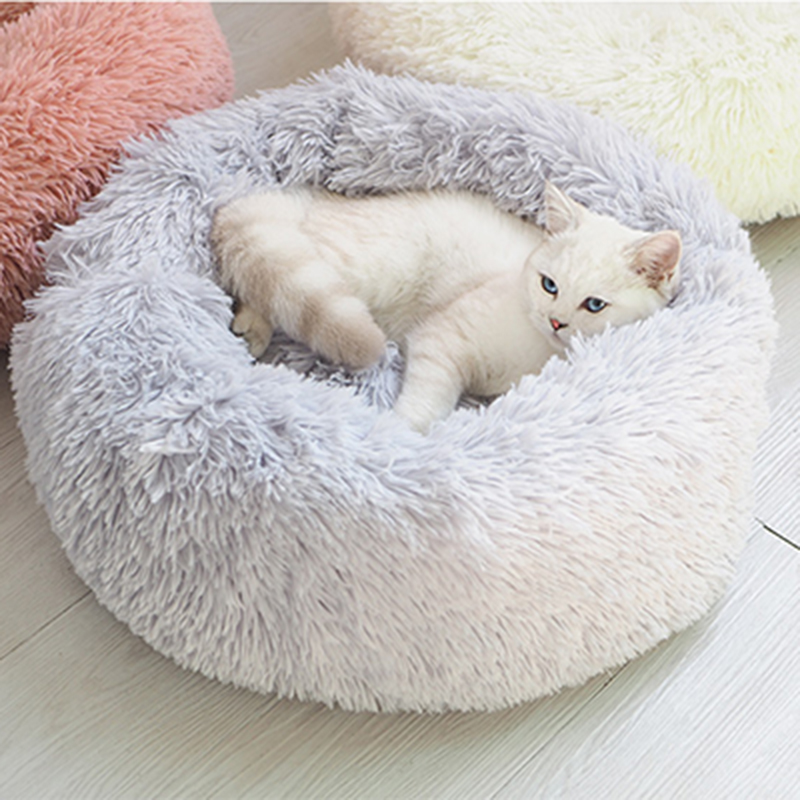 Portable Round and Super Soft Pet Beds in Cute Design Made of Long Plush for Warm and Comfortable Sleep of Cats and Dogs