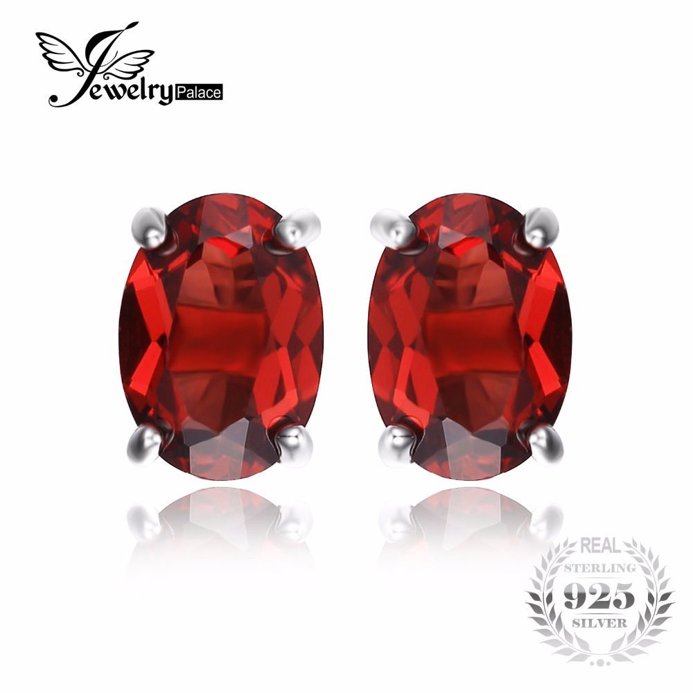 Jewelrypalace Oval 2ct Red Garnet Birthstone Stud Earrings Solid 925  Sterling Silver Jewelry Fashion Girl Birthday