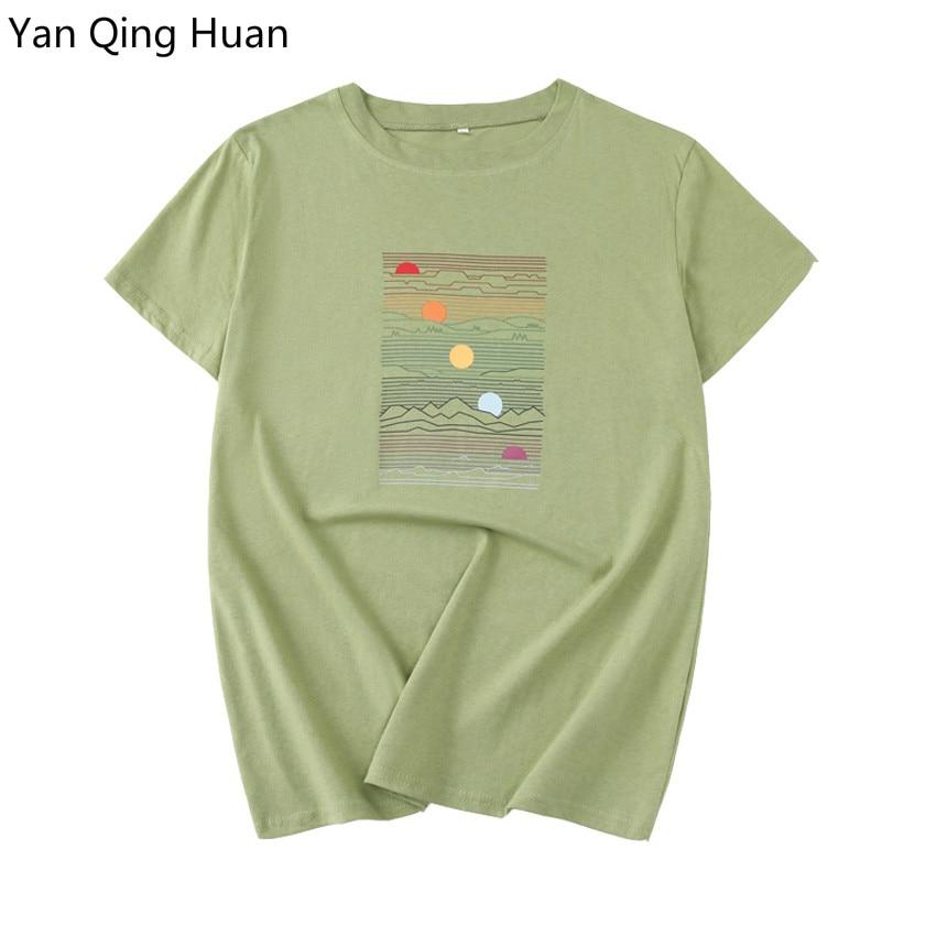 Summer Casual Army Green Short-sleeved Cotton Tops T Shirt Sea Sunset Printing Harajuku O-neck Women's Tees Ladies Large Size