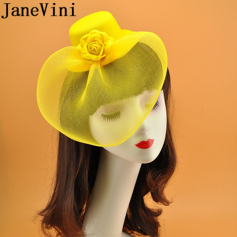 JaneVini 2019 Bride Wedding Acsessoire For Hair Rose Fascinators And Hats Cover Face Floral Formal Evening Women Hat Hair Clip