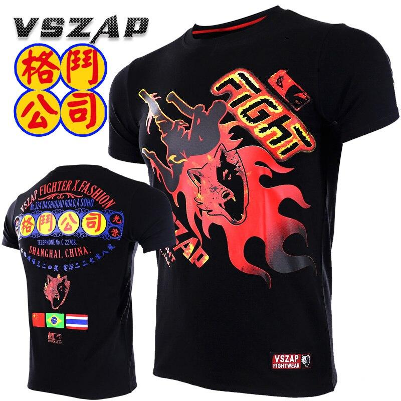 Muay Thai VSZAP FIGHT BRAZIL MMA Jerseys Boxing Team T Shirts Running Gym Black Wolf