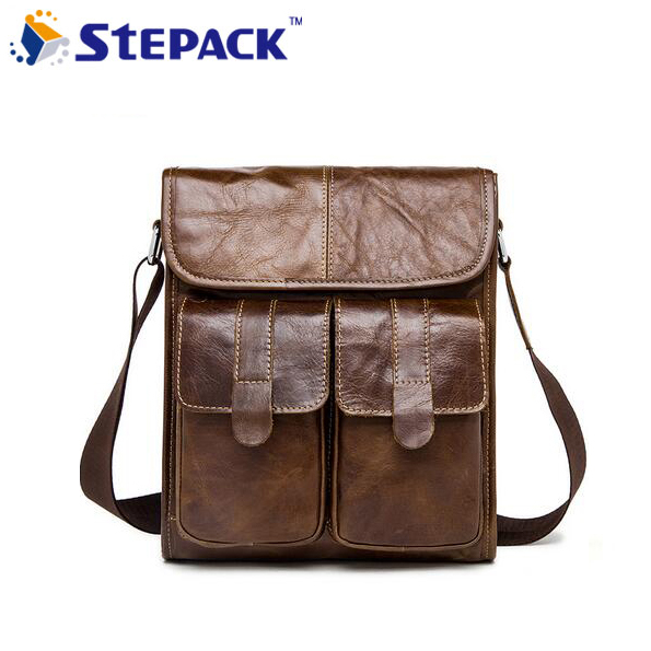 2017 Brand New Genuine Leather Men Bag Vintage Crazy Horse Leather Men Hangbag Business Bag Shoulder Bag Messenger Bag цена