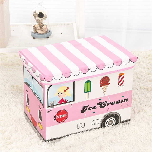 1pcs Child Toy Car Storage Box Container Clothes Organizer Bin Seat Chair Stool Polices School Bus Fire Engine Ice Cream Van