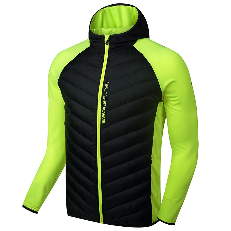 Kelme K16R6004 Men Long Sleeve Splicing Hooded Windproof Keep Warm Sport Running Imitation Down Jacket Black Fluorescent Yellow faux twinset rib splicing hooded long sleeve slimming modish pu leather jacket for men