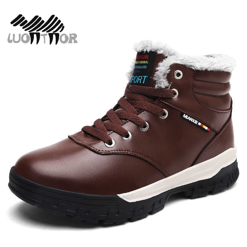 Fur & Plush Boots for Men Winter Snow Boots Warm Lace Up High Top New Fashion Men Shoes Men Boots Sneakers Large Size 39 47 48 high quality men boots 2017 new arrivals waterproof thick plush warm men winter shoes lace up ankle boots size 39 46