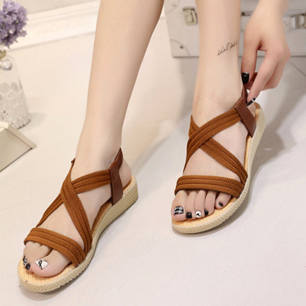 2018 Summer Casual Women Sandals Flat With Shoes Bandage Bohemia Leisure Lady Sandals Peep-Toe Women's Summer Footwear Shoes xda 2018 new summer sandals women flat shoes bandage bohemia leisure lady casual sandals peep toe outdoor fashion sandals f171