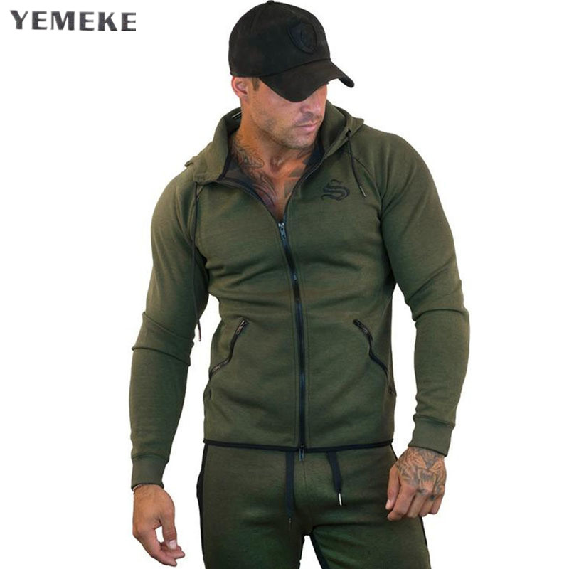 YEMEKE Hoodies Man's Solid Color Slim Fit High Street Hooded Sweatshirt Fitness Sportswear Mens Autumn And Winter Hoodies