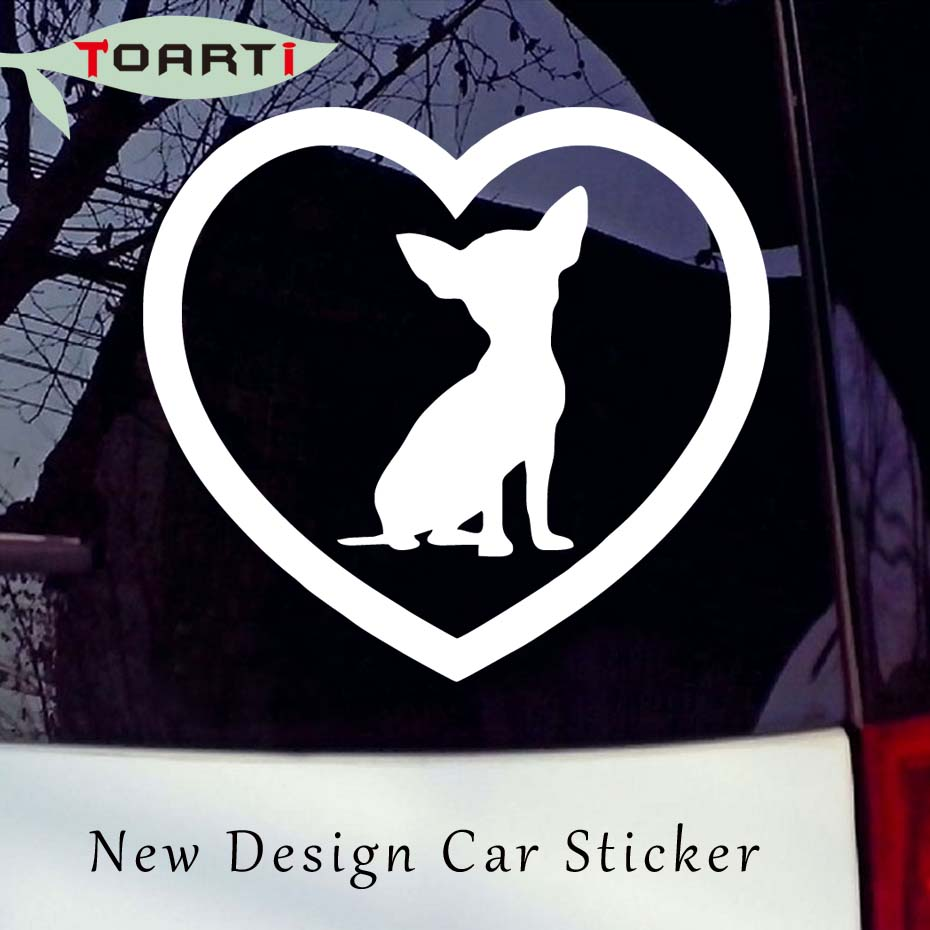 9*9CM Cute Chihuahua Heart Dog Car Sticker Window Vinyl Decal Dog Breed Lover Puppy Family New Style image
