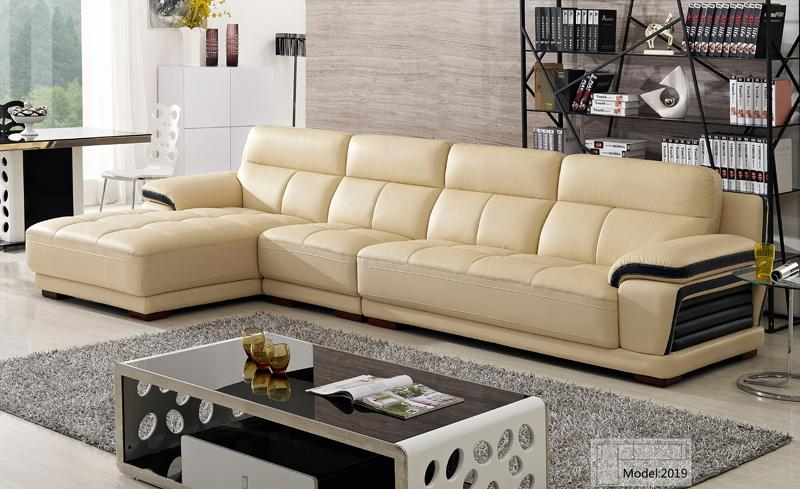 Free Shipping European Modern Leather Sectional Sofa Classical Design L Shaped Corner With Chaise Lounge