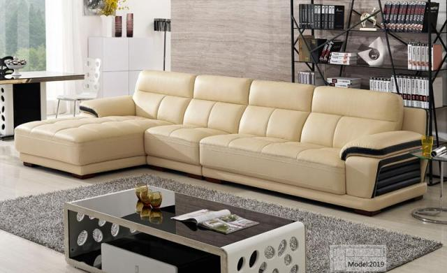 Free Shipping European Modern Leather Sectional Sofa Clical Design L Shaped Corner With Chaise Lounge