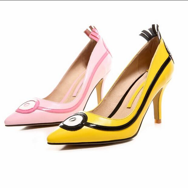 ФОТО Hot Sell New Chick Minions Bello Yellow Collection Thin High Heels Women Pumps Sweet Sexy Zapatos Mujer Cartoon Shoes Woman