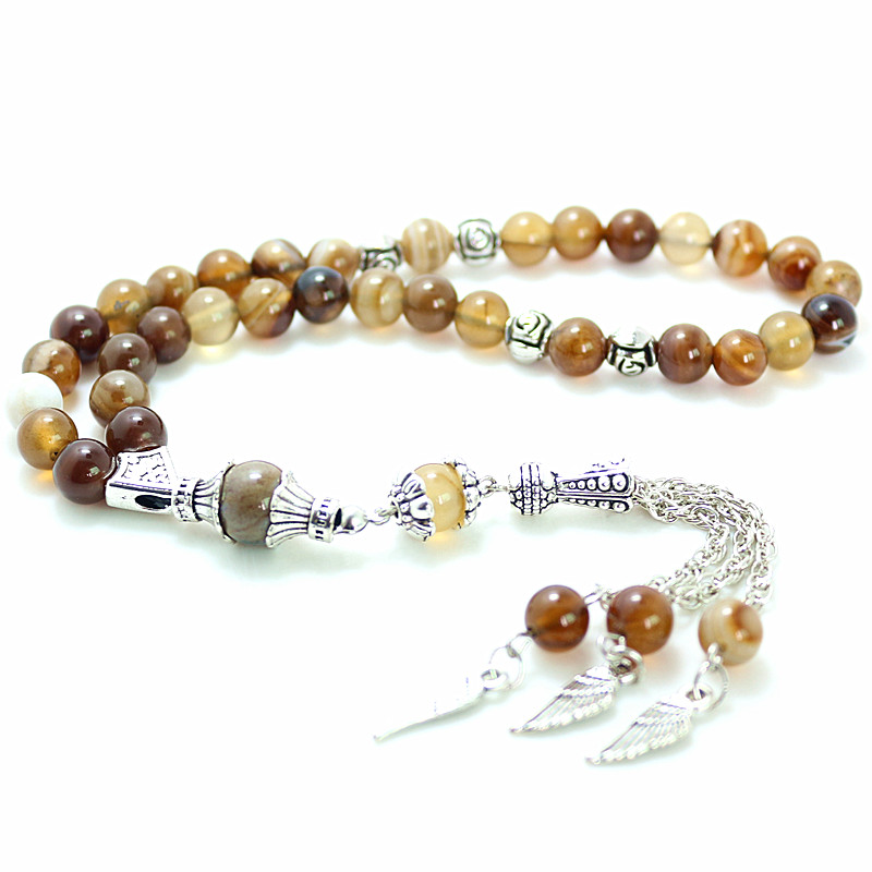 8mm brown Stone Round Shape 33 Prayer Beads Islamic Muslim Tasbih Allah Mohammed Rosary For Men&Women B-Q007