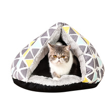 HELLOMOON new pet supplies models Nordic geometry series short plush tent small fur ball toy cat litter kennel houses