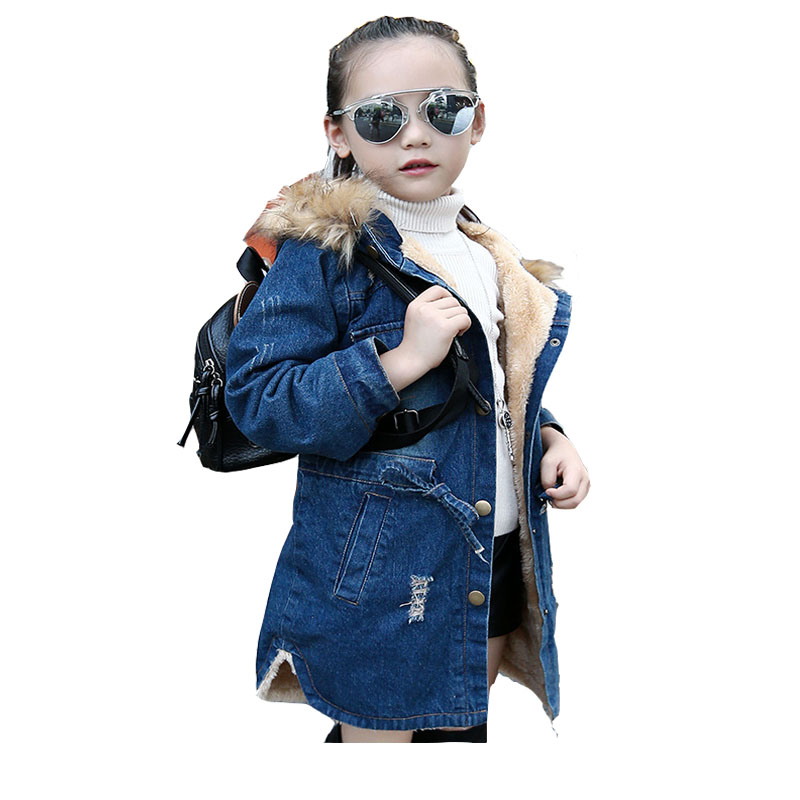 Winter Kids Girls Denim Jacket Children Plus Thick Velvet Hooded Jacket Big Virgin Warm Fur Coat Teenage Girl Clothes 8 10 12 Y womens parkas with fur hoods winter warm long denim jeans velvet hooded long ladies wool coat jacket 2017 plus size blue clothes