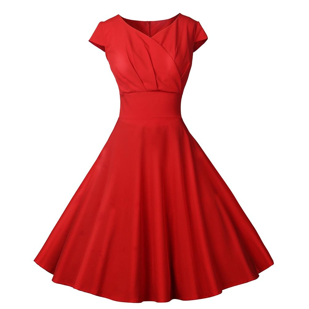 Office Dress Women 50s 60s Retro Summer Rockabilly Dress  Casual Pinup V-Neck Tunic Big Swing with Belt Feminino Vestidos