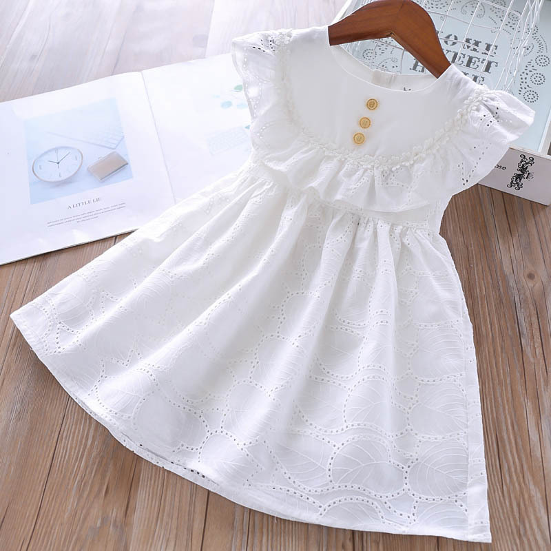Summer 2019 Girl s Lotus Hollow Leaves Dress Korean Version Kids Dresses White