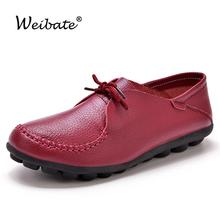 WEIBATE 2019 moda mieszkania kobiet buty łodzi sznurowane obuwie damskie gładkie mokasyny skórzane buty dla matek antypoślizgowe buty pielęgniarskie tanie tanio Dla dorosłych RUBBER Skóra Split Ladies Flats Lace-up Szycia Okrągły nosek Na co dzień Wiosna jesień Pasuje prawda na wymiar weź swój normalny rozmiar