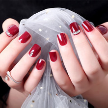 24pc Punk False Nails Full Cover Artificial Full Diamond Design Square Fake Nails Press on Nail Tips Short Nail Art Tip Wine Red nail art wine red fake nail full cover matte false nails short head soft pure color frosted artificial tips