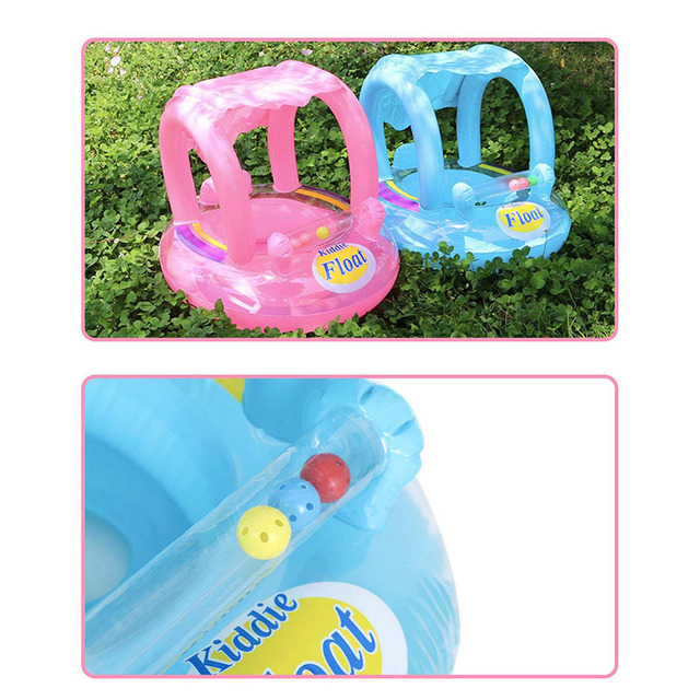 Summer Baby Flamingo Pool Float Safety Swimming Rings Inflatable Swim Float With Sunshade Seat Raft Water Fun Pool Toys 5