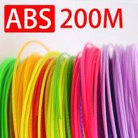 20 цветов каждого цвета 10 метров 1,75 мм ABS 3D печать Ручка накаливания, 200 м 3D Ручка для печати и рисования, подарок для ребенка лучший