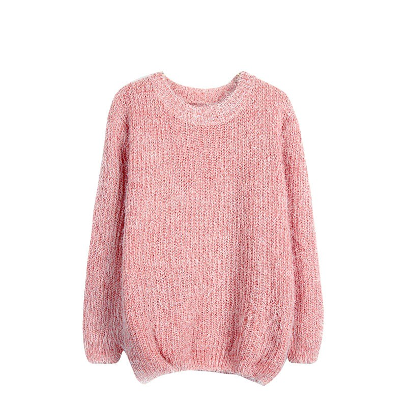 2017 Simple Design Women Pullover Long Sleeve Casual Loose Sweater Autumn Women Knitted Warmer Sweater PL6