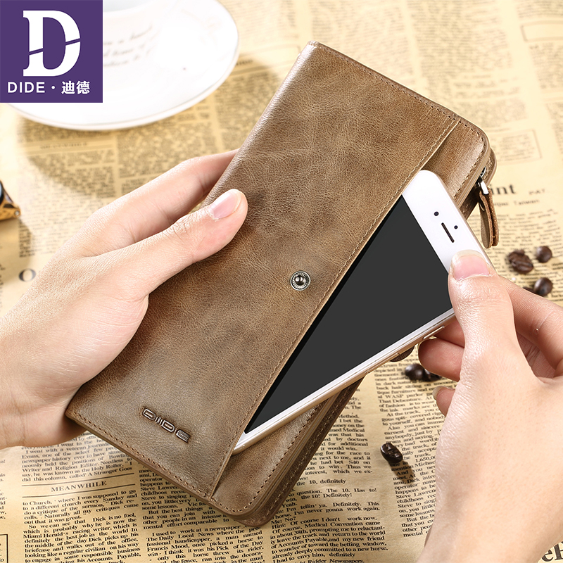 DIDE Genuine Leather Long wallet male Cowhide leather wallet Men's wallet zipper vintage style Large capacity clutch bag DQ713 zuoyi crocodile leather original zipper snap multifunctional in large capacity and long wallet