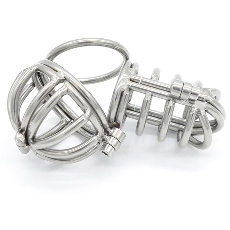 metal cock rings scrotum bondage ball stretcher male chastity device stianless steel cock cage sex toys for men penis cage cock cage penis rings with metal catheter stainless steel chastity device fetish adult products sex toys for men aj31
