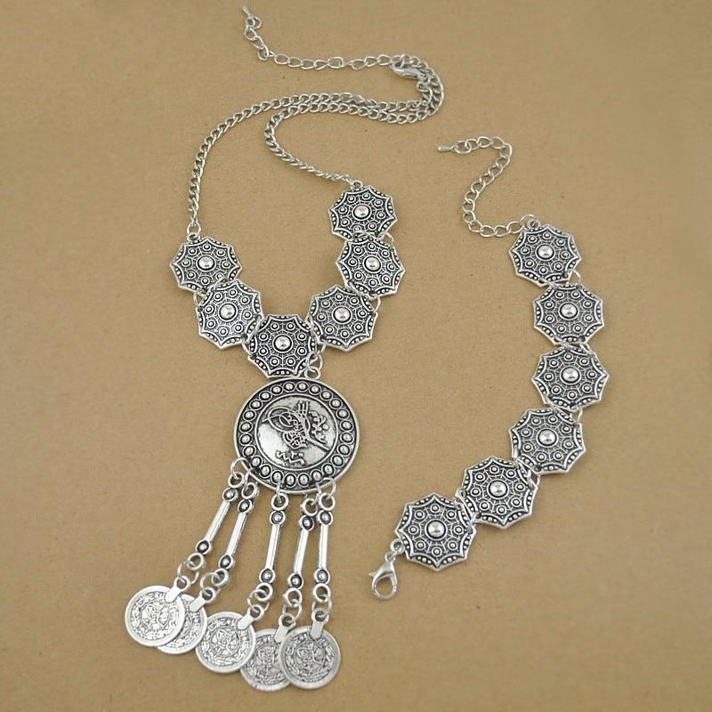 Boho Jewelry Tribal Jewelry Set Antique Silver Coins Choker Necklace Bracelet Set Bohemian Ethnic Jewelry Lots 10 Sets