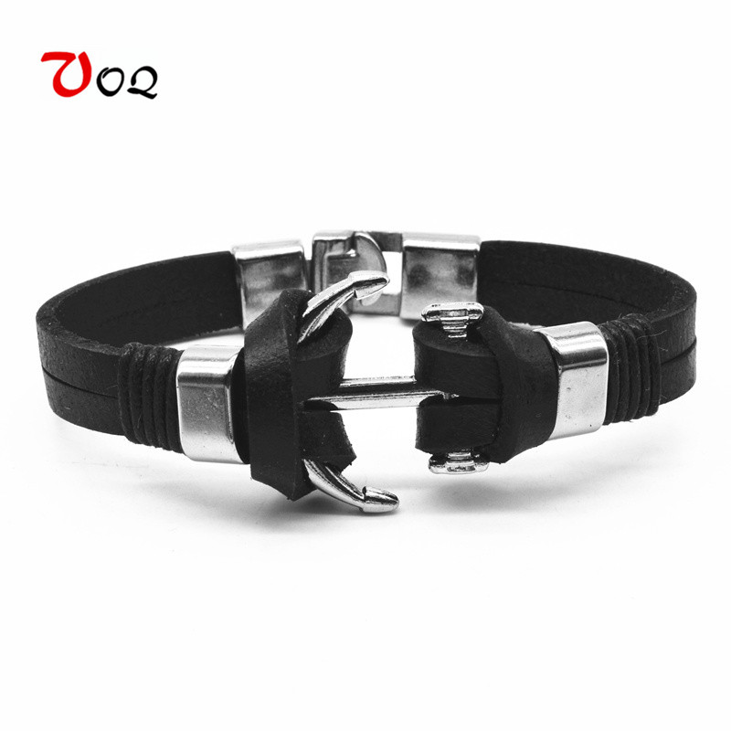2018 Fashion Vintage Style Men Jewelry Anchor Charm Bracelet homme Alloy Easy Hook 21cm Length Genuine Leather Chain Bracelet
