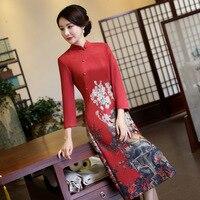 LZJN Chino Tradicional Vestido de Primavera de Las Mujeres Suede Nap Vestido Vestidos Otoño Juego de la Espiga del Cheongsam Qipao Vestido de Fiesta Tamaño S-3XL