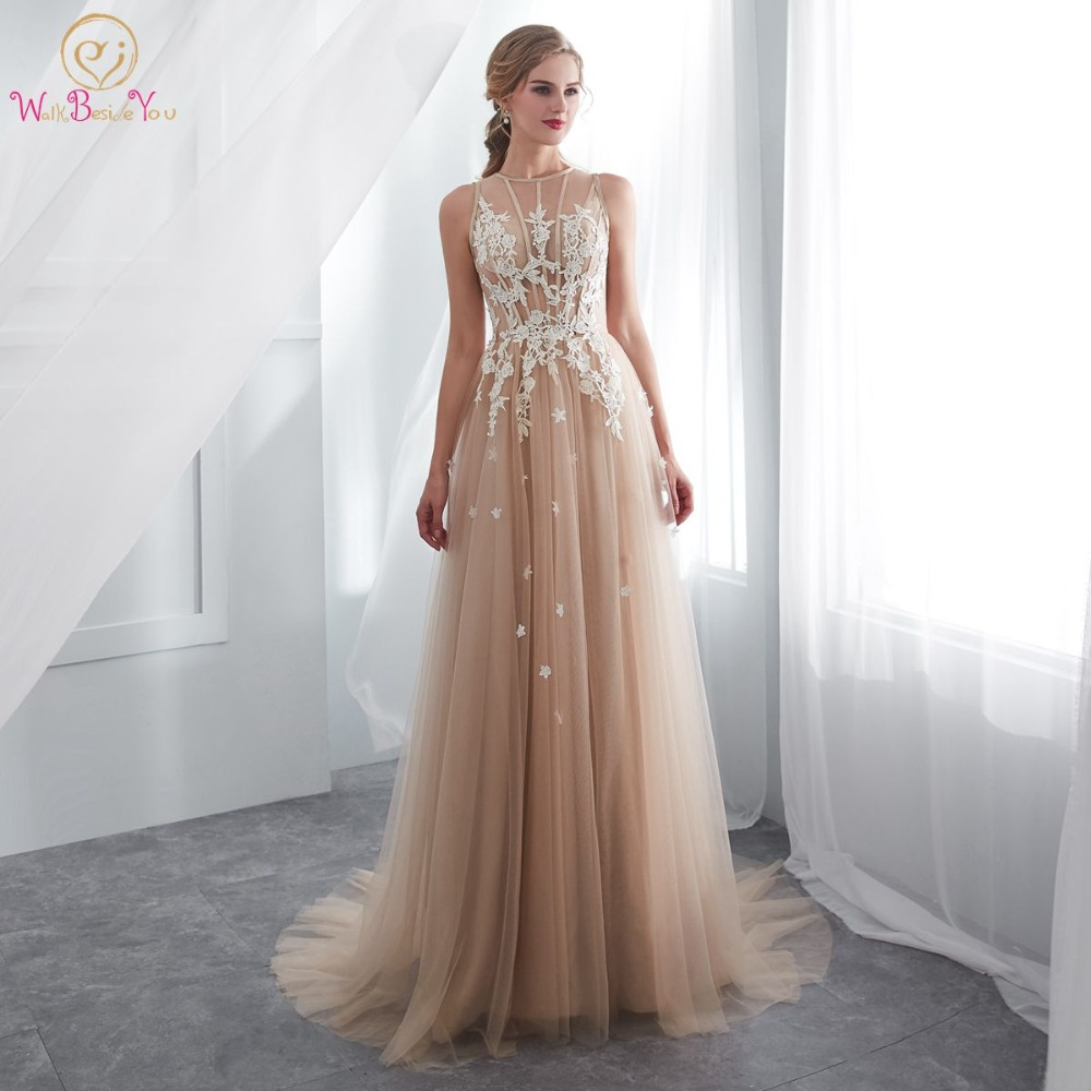 Champagne Prom Dresses Walk Beside You O-neck Transparent Lace Applique A-line Sleeveless Sweep Train Long Party Evening Gowns girl