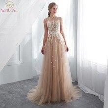 שמפניה שמלות נשף ללכת לצד אתה O צוואר שקוף תחרה Applique אונליין שרוולים לטאטא רכבת ארוך מסיבת ערב שמלות