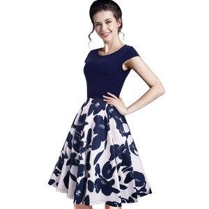 Image 2 - Nizza für immer Sommer Floral Beiläufige Stilvolle Elegante Print Charming Frauen O Neck Sleeveless Zipper Arbeit Büro Expansion Kleid A009