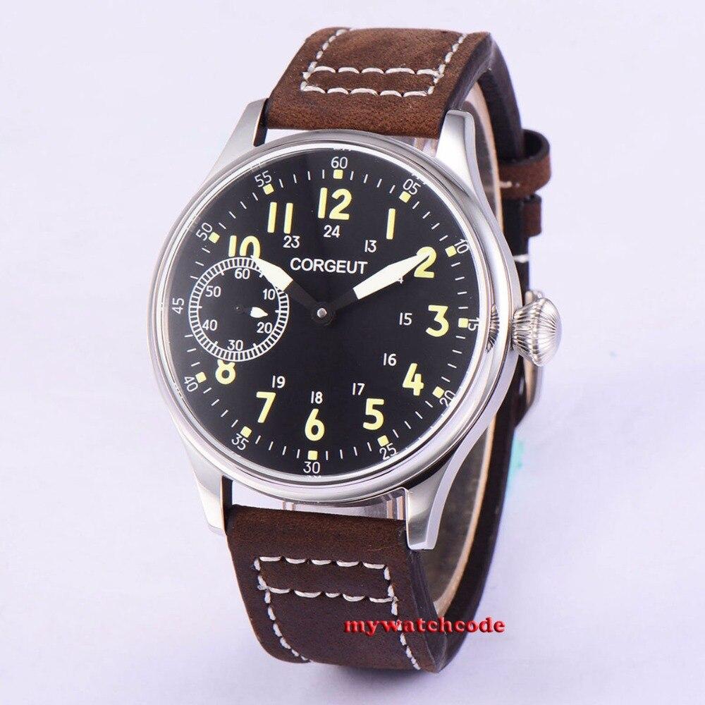 44mm Corgeut black dial luminous asia 6497 hand winding movement mens wristwatch 44mm corgeut black white marks luminous 6497 hand winding movement mens watch 96