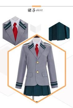 82e7a6918f BOKU no héroe Academia uraraka ochako yaoyorozu Momo asui tsuyu uniforme  escolar Cosplay traje coat + shirt + tie + falda + Calcetines