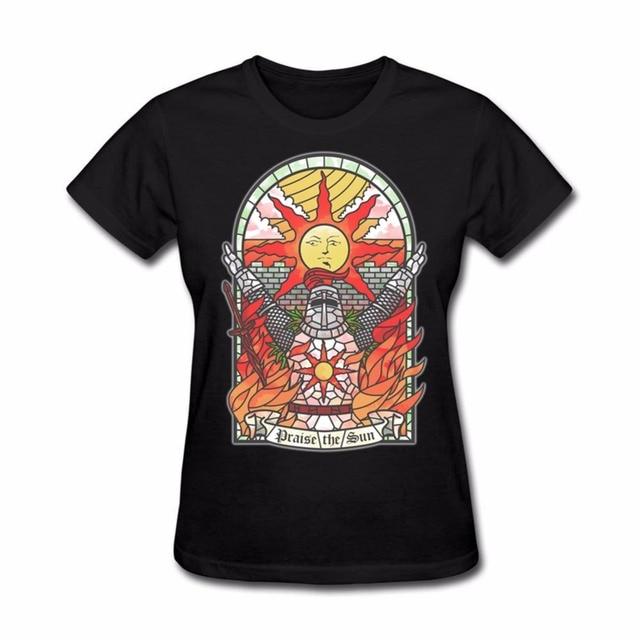 church of the sun T Shirts Game Dark Souls II Arteries Praise The Sun T  Shirt Women Girl Tops Casual Short Sleeve 100% Cotton fcf9592d4