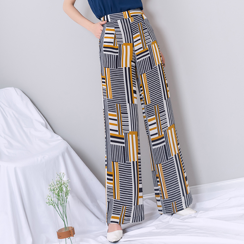 high waist   wide     leg     pants   women 2019 summer striped thin chiffon long palazzo   pants   plus size gothic streetwear trousers women