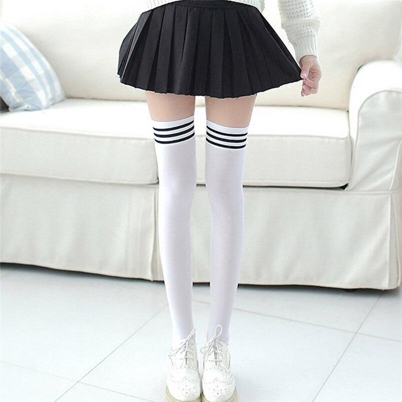 Sexy Medias Fashion Striped Knee Socks Women Cotton Thigh High Over The Knee Stockings for Ladies Girls Warm Long Stocking R03 (7)