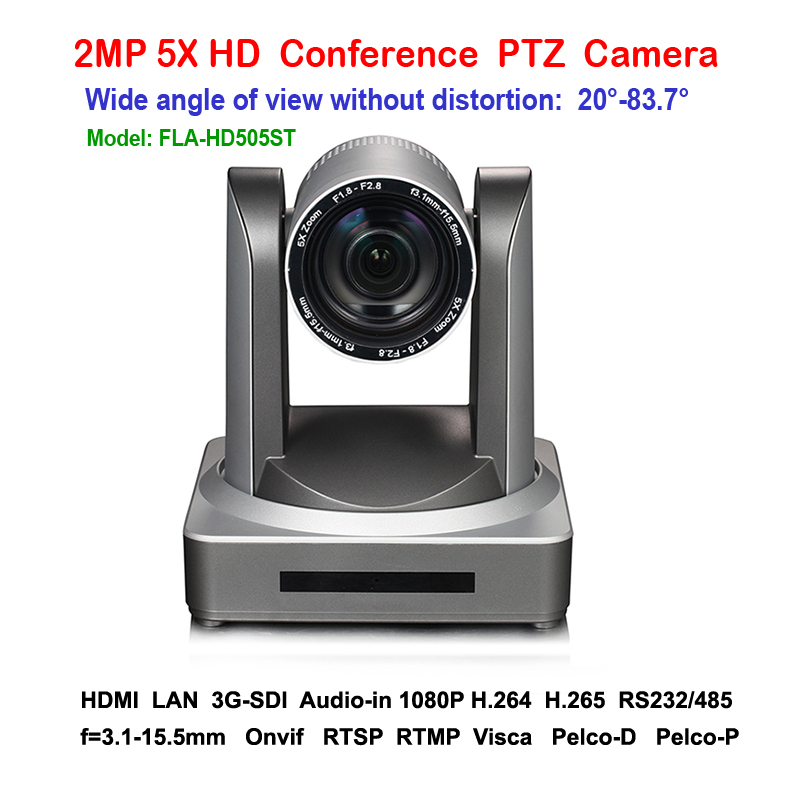 2MP PTZ 1080P 60fps  IP Live Streaming Camera 5x Zoom 83 degree wide view with Simultaneous HDMI and 3G-SDI Outputs удлинитель zoom ecm 3