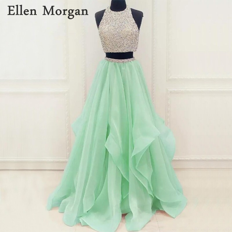Mint Green 2 Pieces   Prom     Dresses   2018 for Women with Beaded Sexy Backless A line Floor Length Organza Long Vestido De Festa