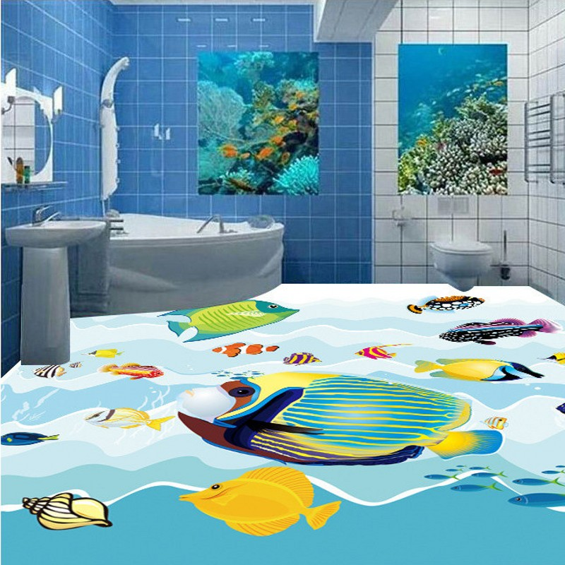 Free Shipping HD underwater world 3D floor painting waterproof self-adhesive bedroom living room bathroom flooring mural free shipping marble texture parquet flooring 3d floor home decoration self adhesive mural baby room bedroom wallpaper mural