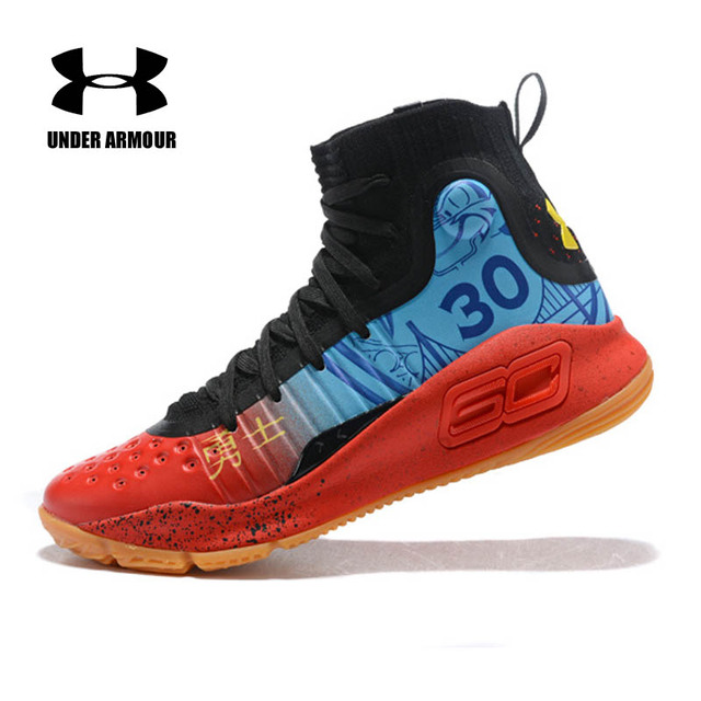 Under Armour men Curry 4 Basketball Sneakers high top Training Boot Unique Socks Design Outdoor Non-slip Sports Shoes Hot sale