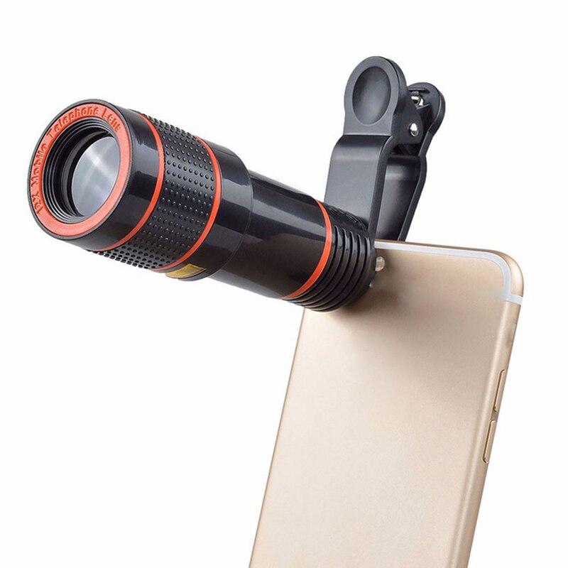 Clip-on 12x Optical Zoom Mobile Phone Telescope Lens HD Telescope Camera Lens Fo