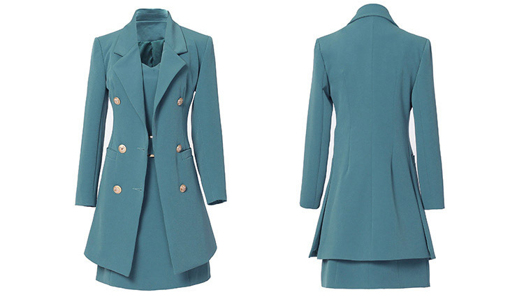 Autumn Business Suit Elegant Office Dress Lady Work 2 Pieces Set Long Sleeve Blazer and Sleeveless Dress Suit Set 14
