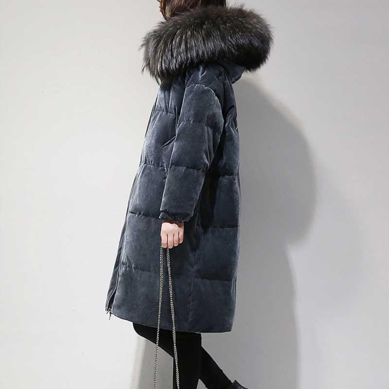 Femmes hiver velours épais vers le bas vestes veste bouffante plume fausse fourrure col velours vers le bas veste à capuche de luxe chaud manteau d'oie